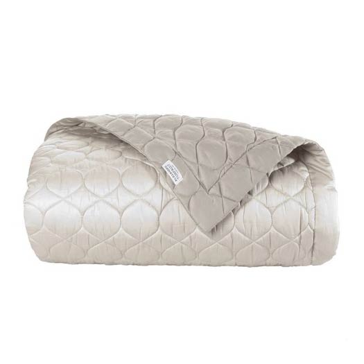 Montaigne Gazelle Taupe Sateen Quilted Throw