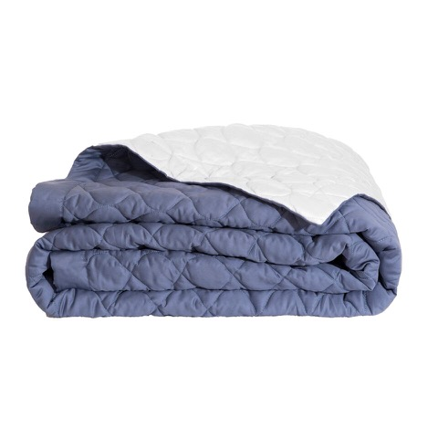 Montaigne Navy Quilted Sateen Bed Throw