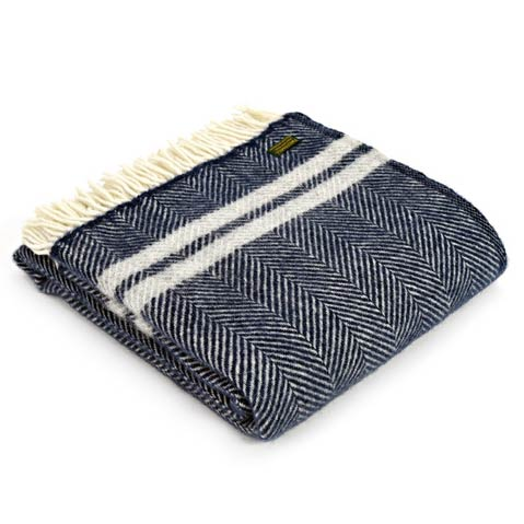 Throw fishbone stripe navy silver