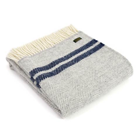 Throw fishbone stripe silver grey navy