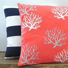 Coral Seaweed Nautical Cushion