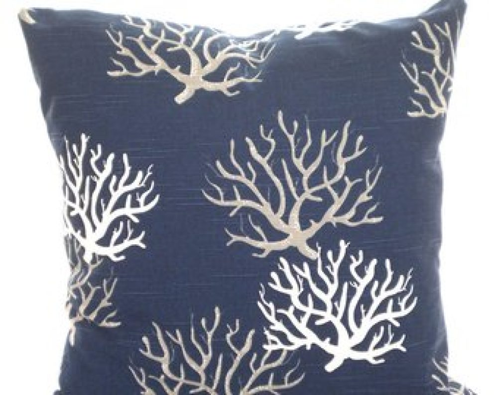 navy seaweed nautical cushion