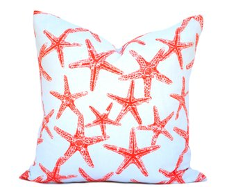 coral starfish nautical cushion