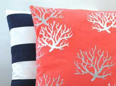 Coral seaweed navy white cushions