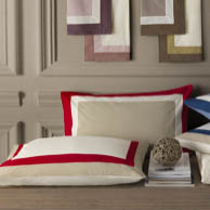 Nauteriors custom boat bedding forever grey red white